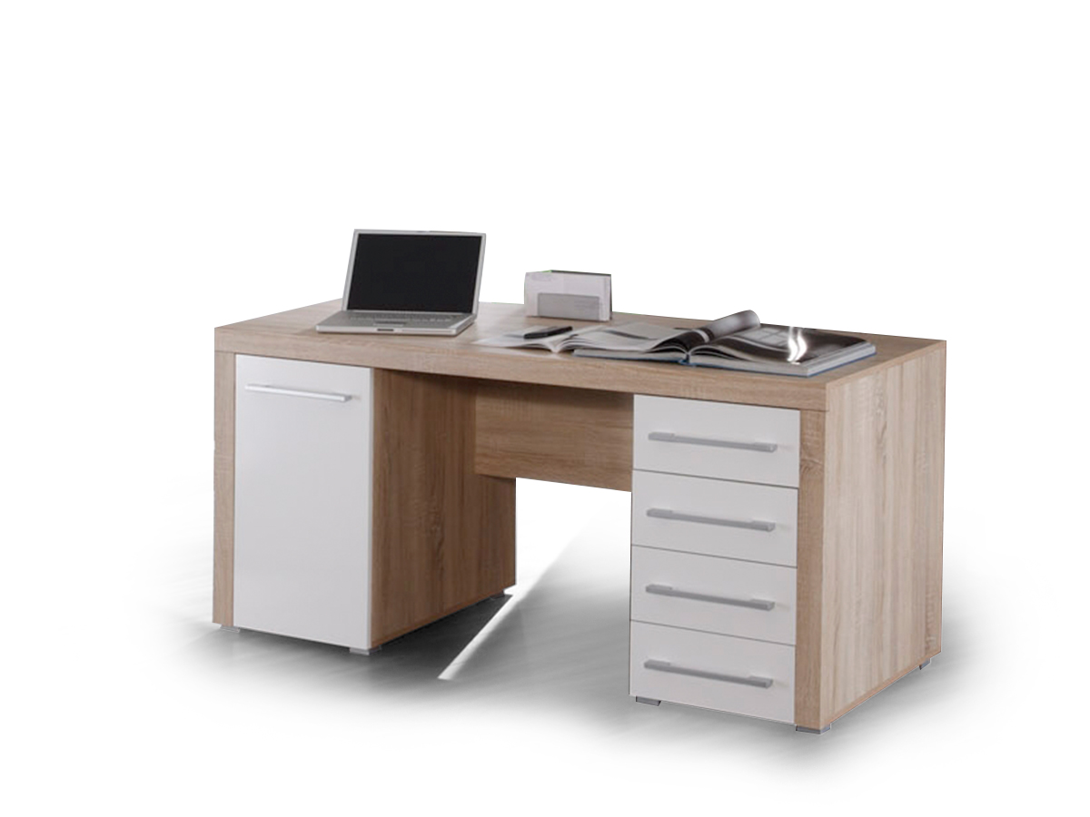 charlie schreibtisch tisch computertisch 160x70cm dekor sonoma eiche wei weiss ebay. Black Bedroom Furniture Sets. Home Design Ideas