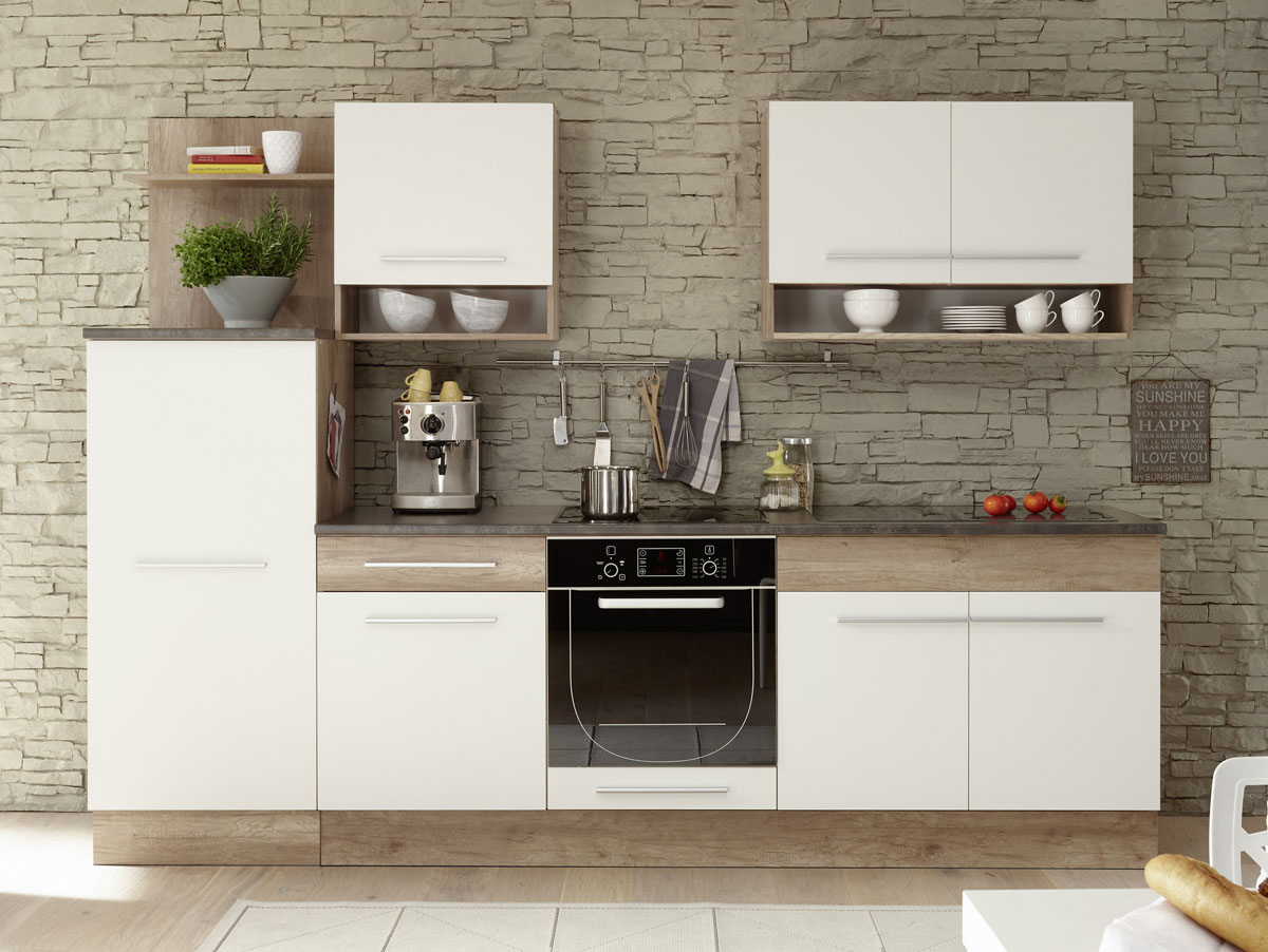 monumental k chenblock komplett einbauk che k chenzeile k che 240 cm eiche wei ebay. Black Bedroom Furniture Sets. Home Design Ideas
