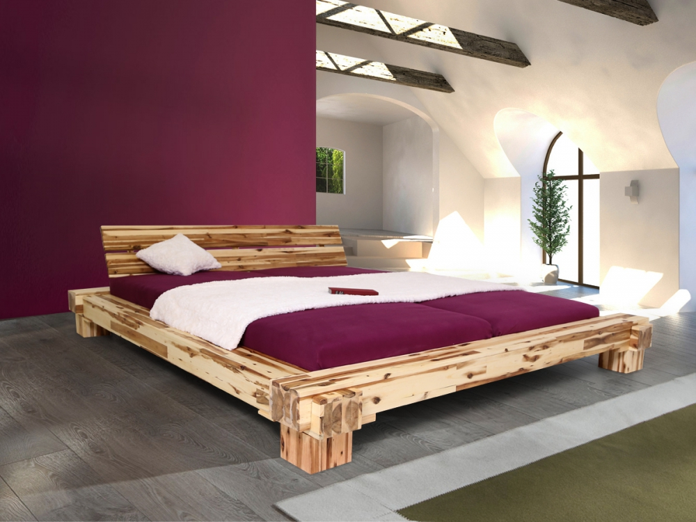 cali holzbett massivholz futonbett akazie massiv mit kopfteil doppelbett 180x200 ebay. Black Bedroom Furniture Sets. Home Design Ideas