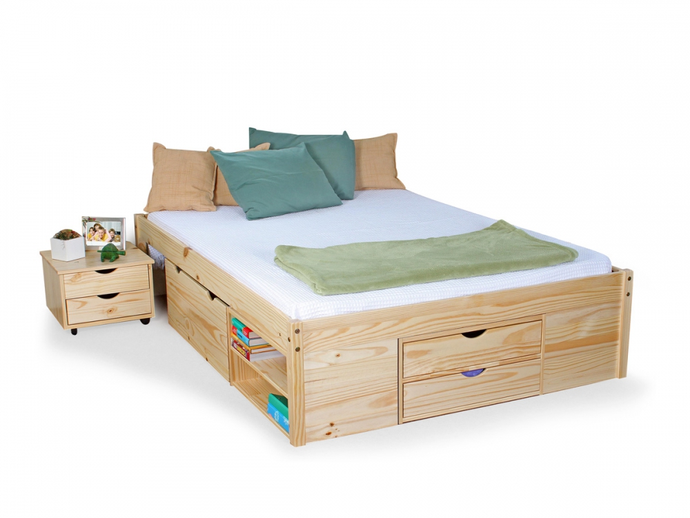claas funktionsbett jugendbett bett mit stauraum schubladen kiefer holz 140x200 ebay. Black Bedroom Furniture Sets. Home Design Ideas