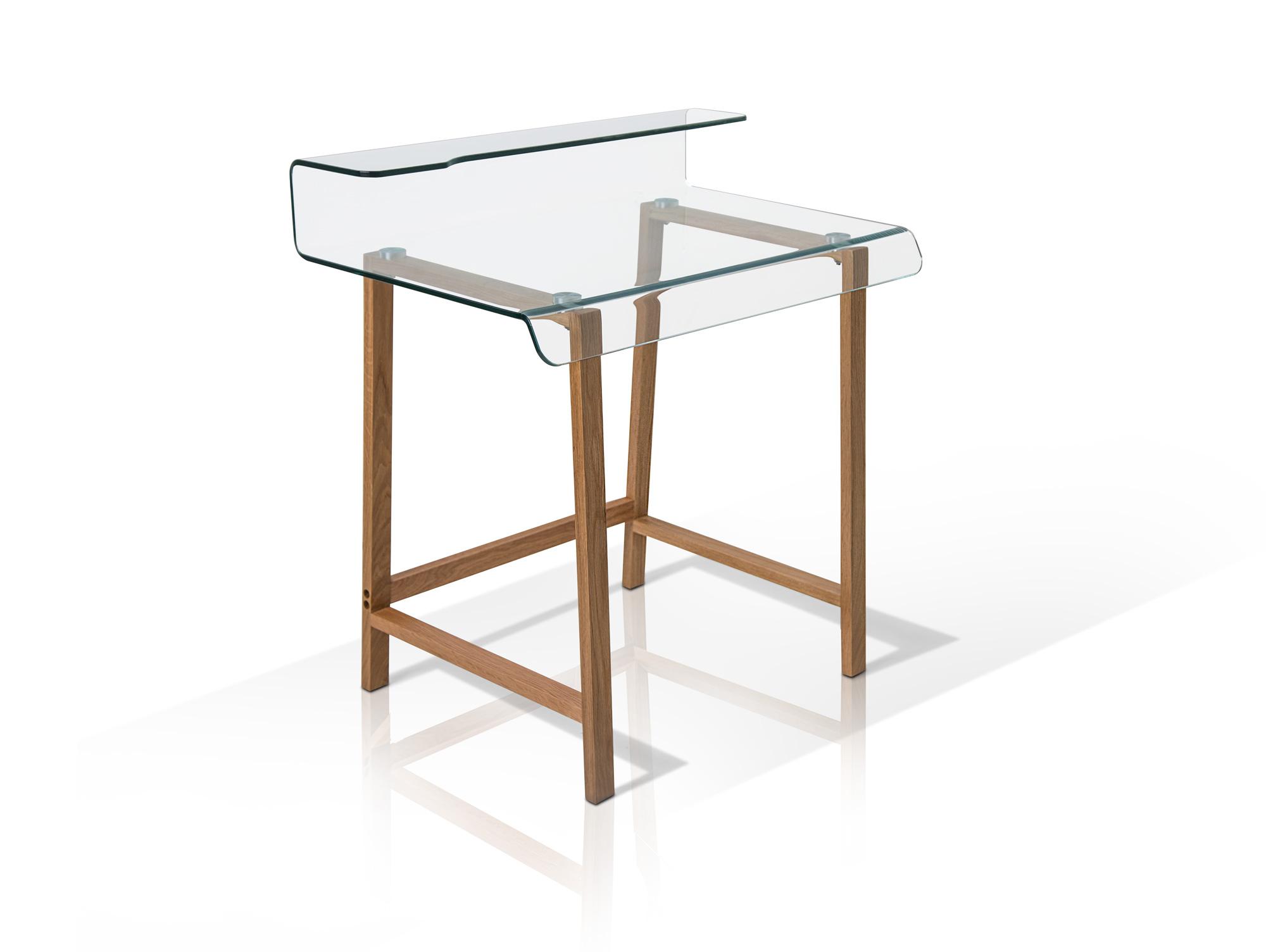 Millar schreibtisch design klar glas 85x55 computertisch for Schreibtisch holz glas