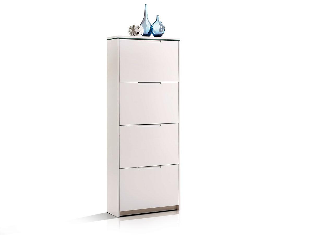 schuhkipper schuhschrank 4 klappen mdf wei hochglanz mit led beleuchtung ebay. Black Bedroom Furniture Sets. Home Design Ideas