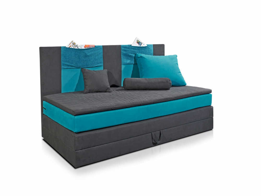 kids boxspringbett doppelbett boxspring bett kinderbett 90x200 schwarz blau ebay. Black Bedroom Furniture Sets. Home Design Ideas