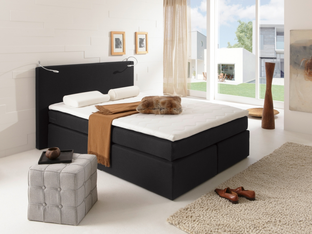 savanna boxspringbett doppelbett boxspring bett hotelbett 140x200 h2 schwarz ebay. Black Bedroom Furniture Sets. Home Design Ideas