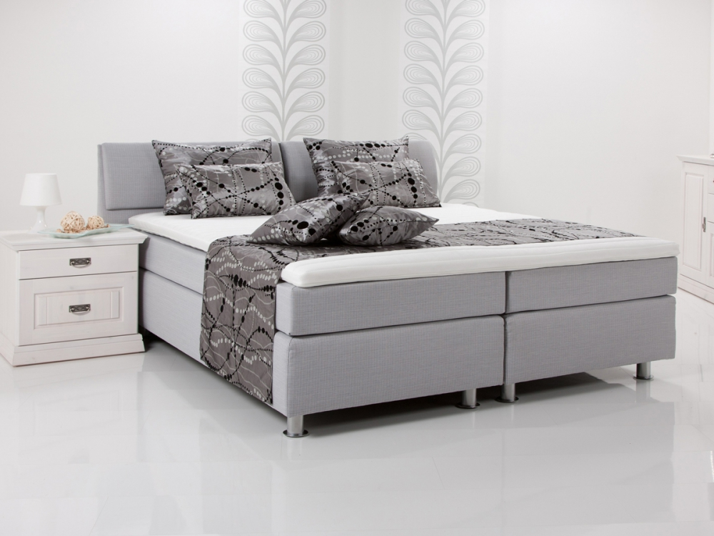 amy boxspringbett einzelbett boxspring bett hotelbett hellgrau grau 100x200 h3 ebay. Black Bedroom Furniture Sets. Home Design Ideas