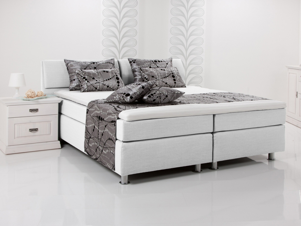 amy boxspringbett doppelbett boxspring bett hotelbett weiss wei 160x200 h2 ebay. Black Bedroom Furniture Sets. Home Design Ideas