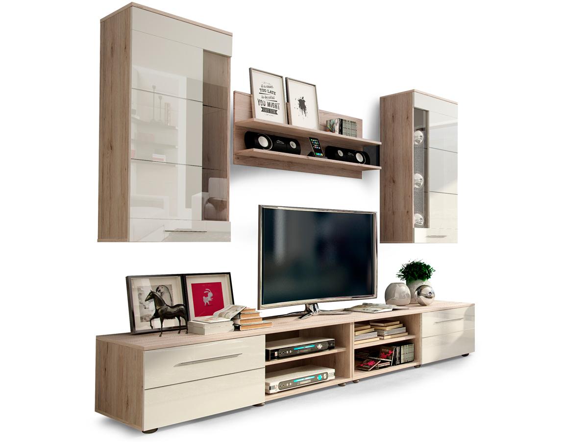 holly wohnwand anbauwand schrankwand dekor eiche san remo. Black Bedroom Furniture Sets. Home Design Ideas