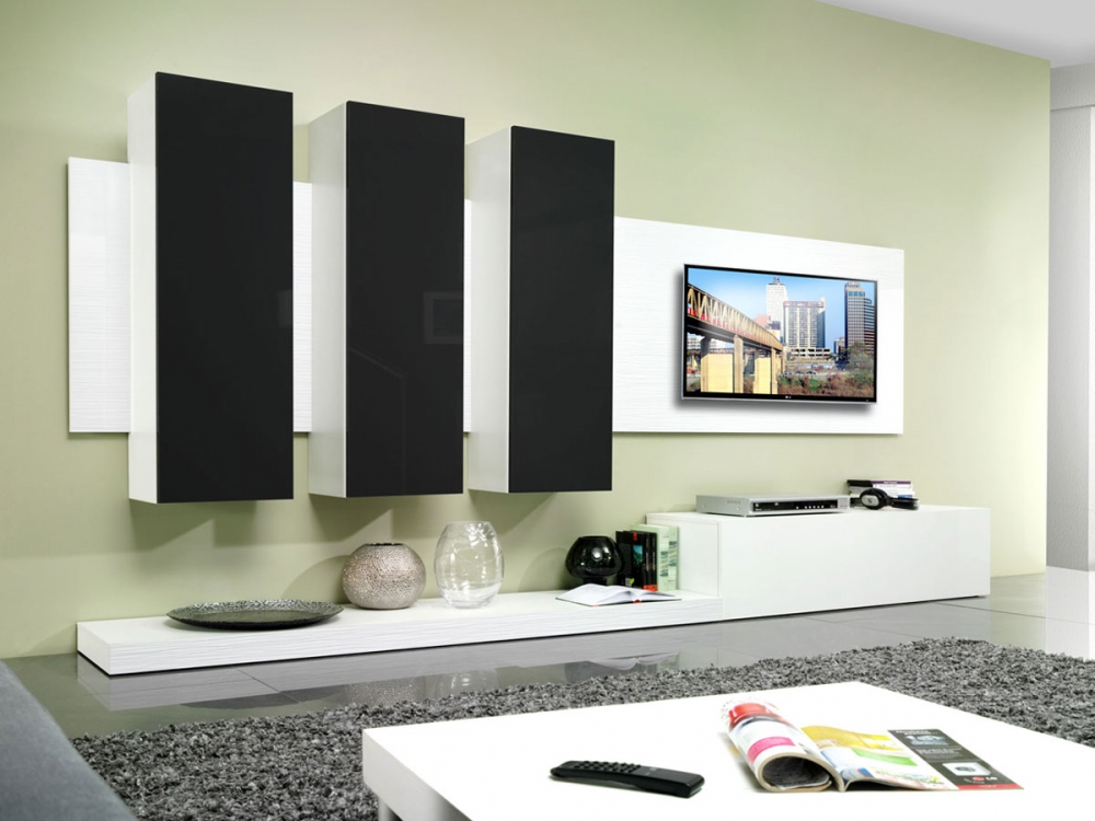 living wohnwand tv board schrankwand wohnkombination wei schwarz hochglanz ebay. Black Bedroom Furniture Sets. Home Design Ideas
