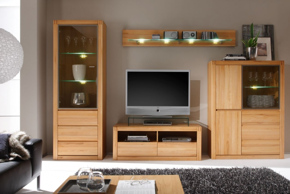 pablo i wohnwand tv wand schrankwand wohnzimmer kernbuche massivholz furniert ebay. Black Bedroom Furniture Sets. Home Design Ideas