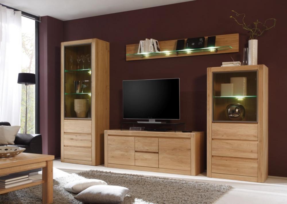 Pablo ii wohnwand tv wand schrankwand wohnzimmer eiche for Wohnwand massivholz