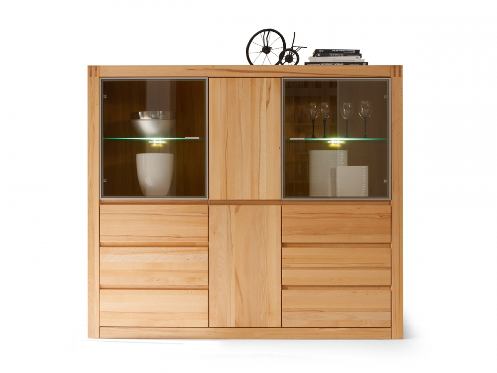 pablo highboard vitrine hoch schrank regal kernbuche massivholz furniert ebay. Black Bedroom Furniture Sets. Home Design Ideas