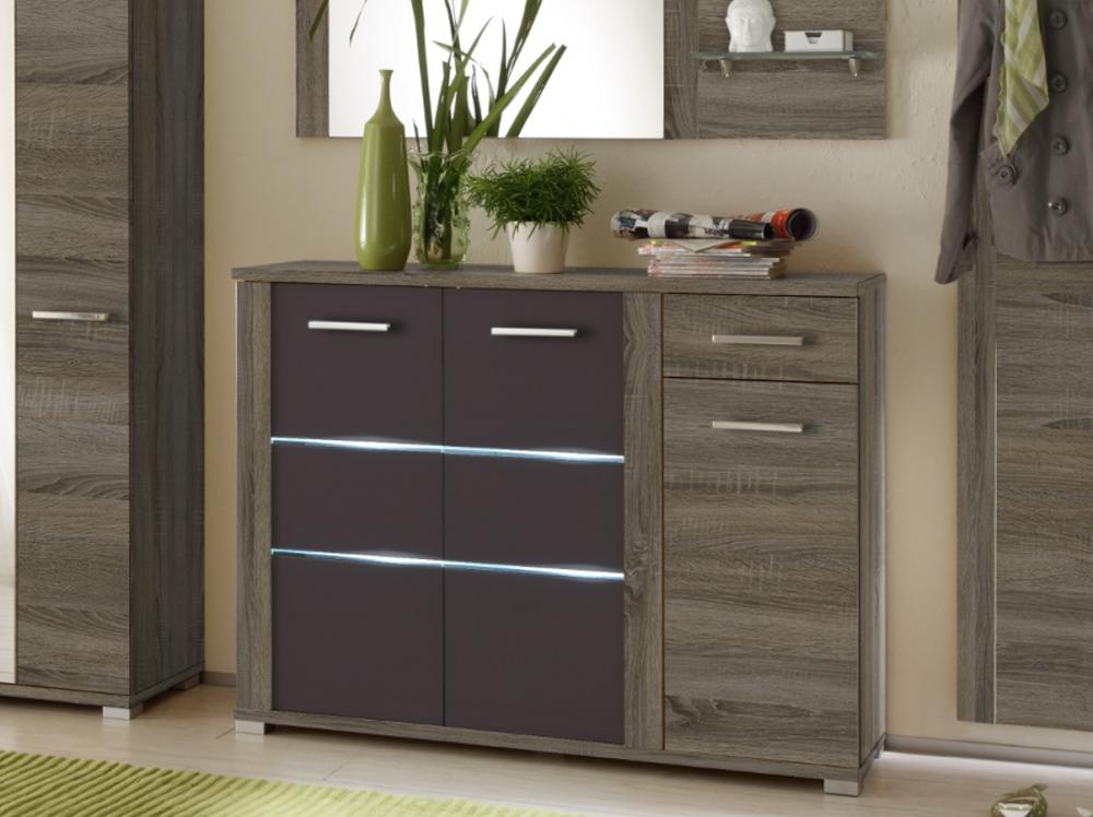 marika schuhschrank mit beleuchtung schuhkommode garderobe dekor eiche dunkel ebay. Black Bedroom Furniture Sets. Home Design Ideas