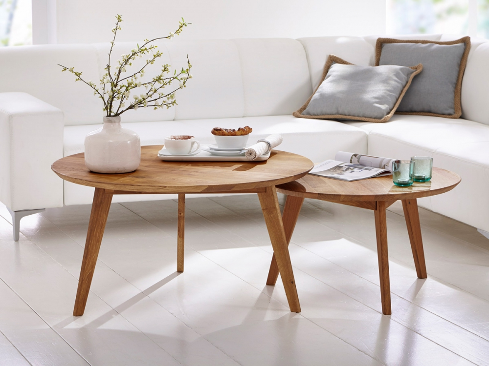 AUSTIN Couchtisch Beistelltisch Wohnzimmertisch Tisch Wildeiche Rund 70 Cm