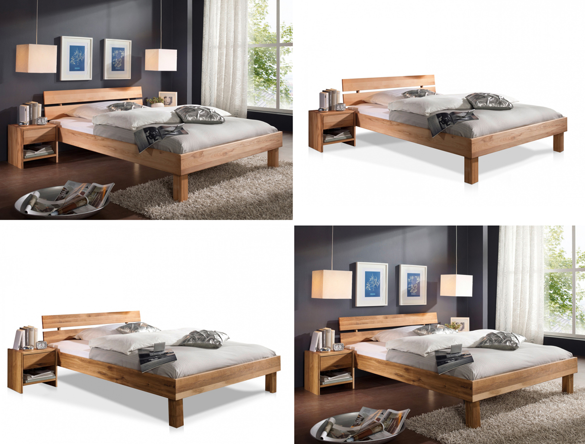 bett mit kopfteil holz massiv holzbett 100 140 160 180 x 200 cm eiche buche ebay. Black Bedroom Furniture Sets. Home Design Ideas