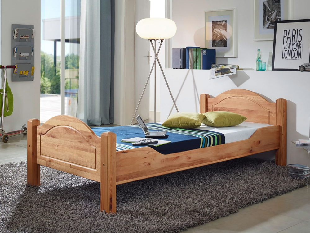 lucky g nstiges doppelbett ehebett massivholzbett bett kernbuche massiv 140x200 ebay. Black Bedroom Furniture Sets. Home Design Ideas