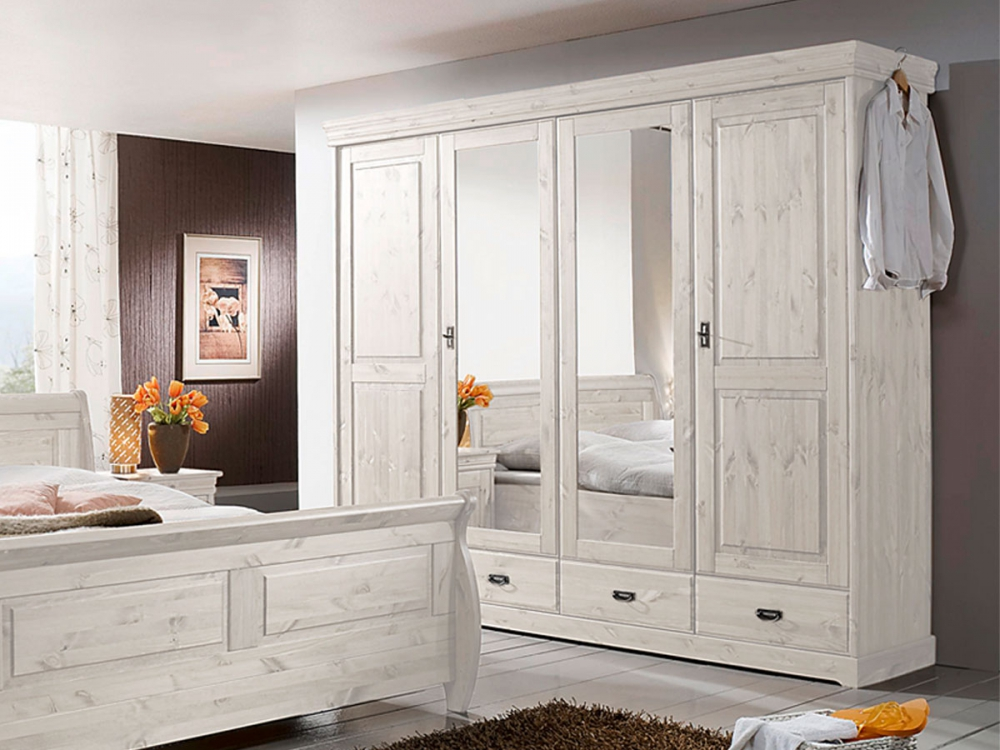 richard 4 t riger kleiderschrank schrank mit dreht ren kiefer massiv wei b254 ebay. Black Bedroom Furniture Sets. Home Design Ideas