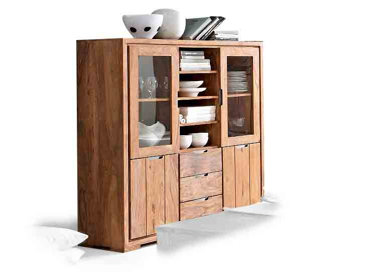 whitney mountain highboard schrank massivholz holz sheesham gebeizt b140 h150 ebay. Black Bedroom Furniture Sets. Home Design Ideas
