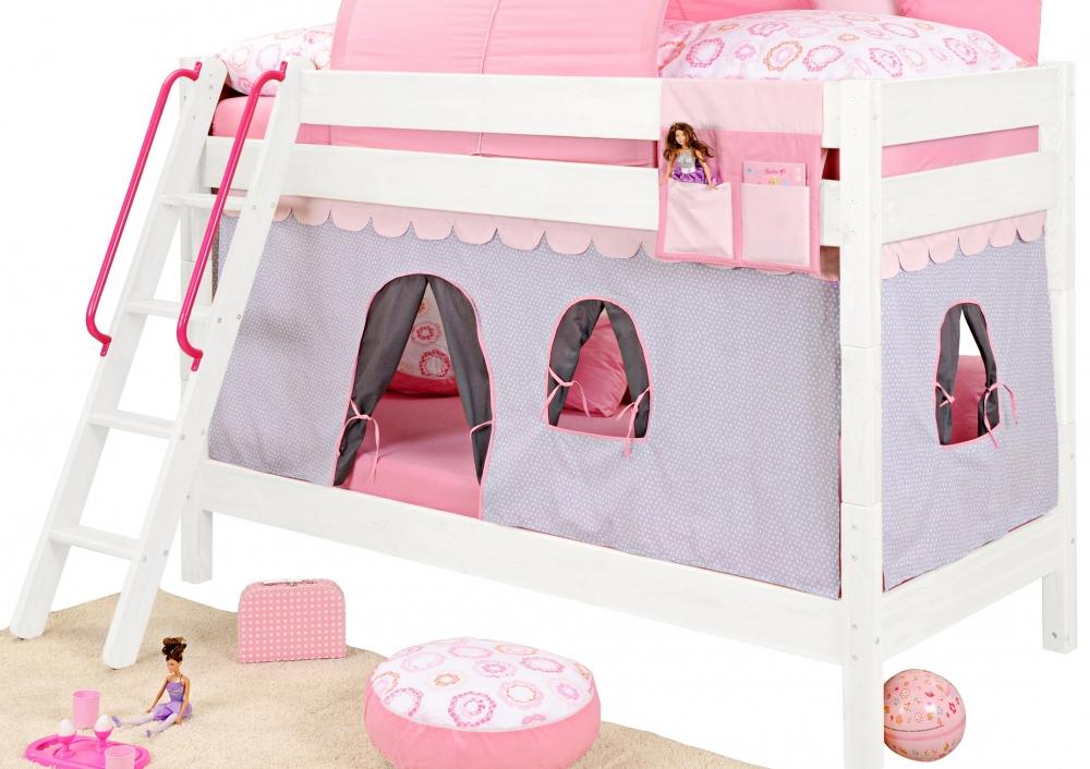 yogi girl vorhang f r bett 3 bettseiten violett rosa bettvorhang f spielbett ebay. Black Bedroom Furniture Sets. Home Design Ideas