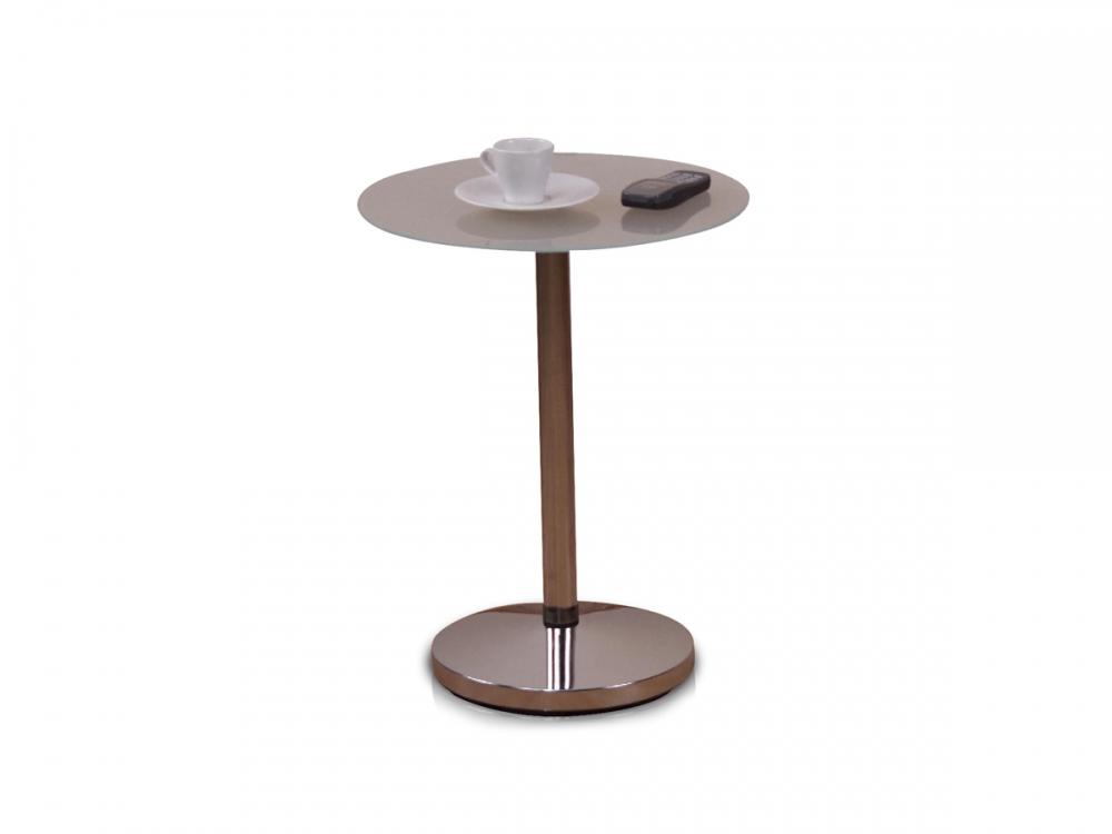 Jadella Esstisch Raul ~ RAUL Beistelltisch Tisch Glas Glastisch Gestell verchromt Milchglas 5mm Ø 40