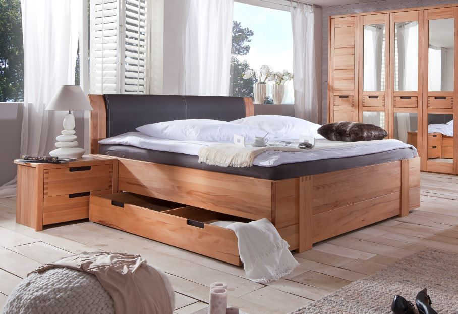 stanford doppelbett bett holzbett teilmassiv kernbuche leder 180x200 m schublade ebay. Black Bedroom Furniture Sets. Home Design Ideas