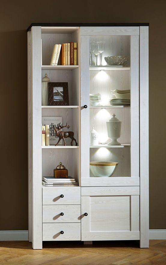 antwerpen vitrine schrank wohnzimmerschrank dekor l rche wei pinie dunkel led ebay. Black Bedroom Furniture Sets. Home Design Ideas