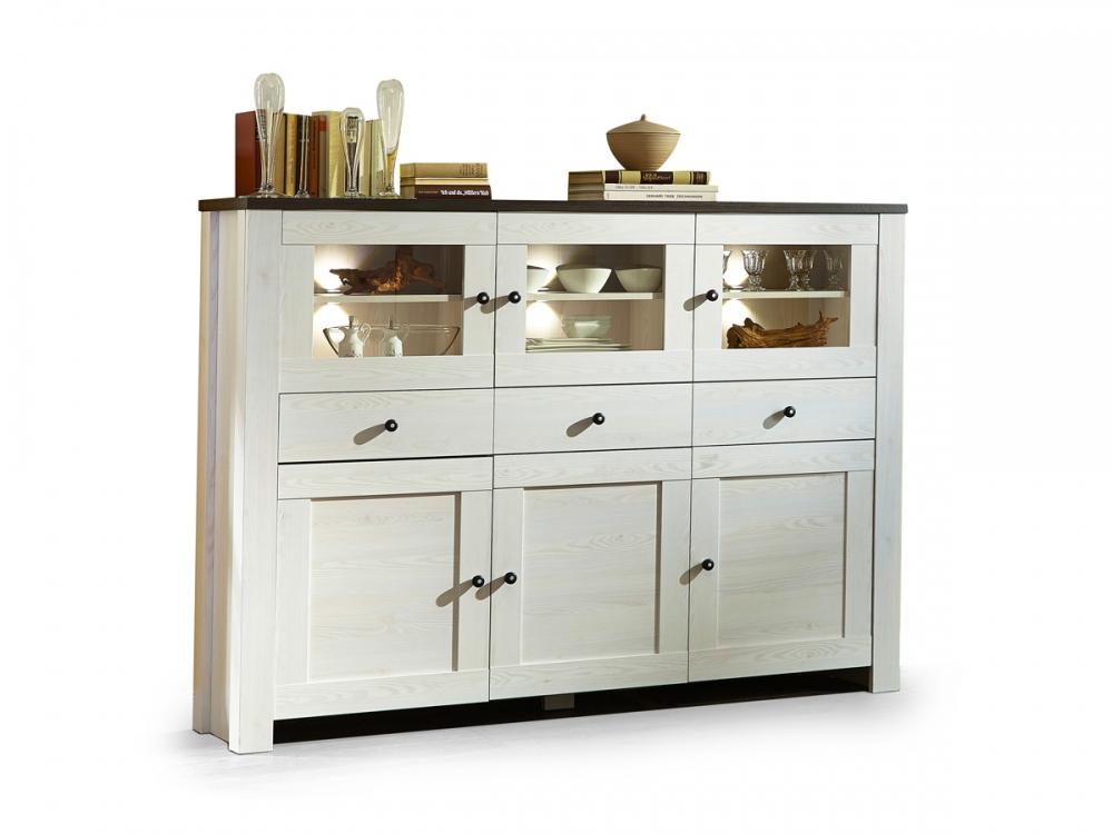 antwerpen highboard schrank k chenschrank 6 t ren dekor l rche pinie dunkel ebay. Black Bedroom Furniture Sets. Home Design Ideas
