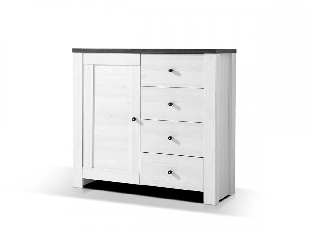 antwerpen i kommode schrank schubkastenregal 1 t r dekor l rche pinie dunkel ebay. Black Bedroom Furniture Sets. Home Design Ideas
