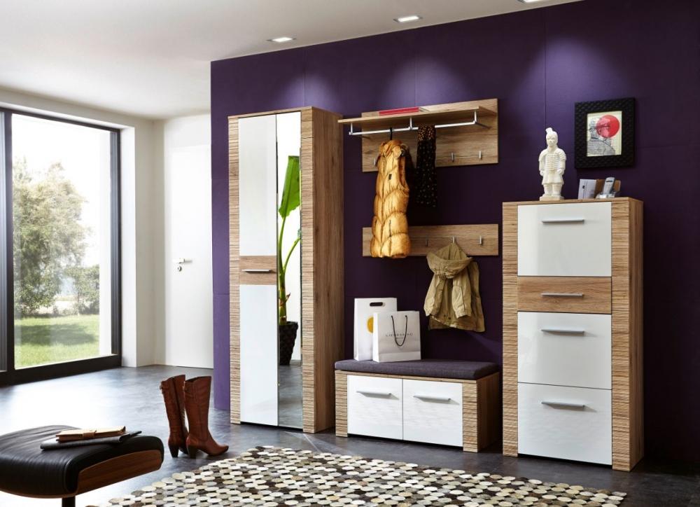 candra 5tlg garderobenset garderobe komplettgarderobe dekor eiche san remo wei ebay. Black Bedroom Furniture Sets. Home Design Ideas