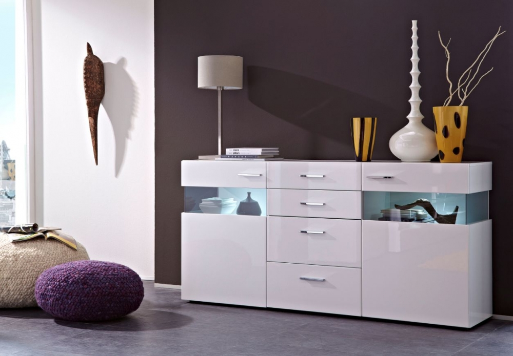 magdalena sideboard kommode schrank regal dekor mdf wei hochglanz glas grau ebay. Black Bedroom Furniture Sets. Home Design Ideas