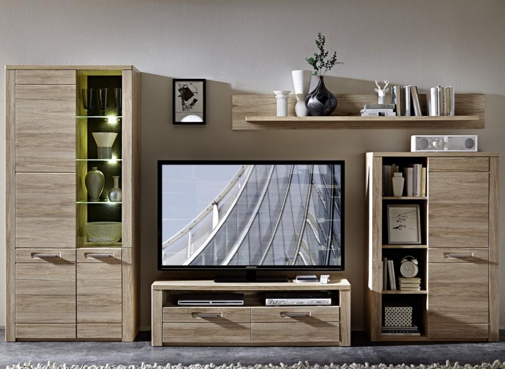 pro wohnwand anbauwand schrankwand f rs wohnzimmer mdf eiche san remo schiefer ebay. Black Bedroom Furniture Sets. Home Design Ideas