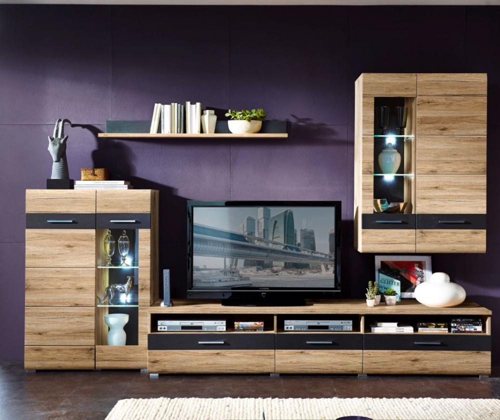 sancho ii wohnwand anbauwand schrankwand f wohnzimmer dekor eiche san remo grau ebay. Black Bedroom Furniture Sets. Home Design Ideas