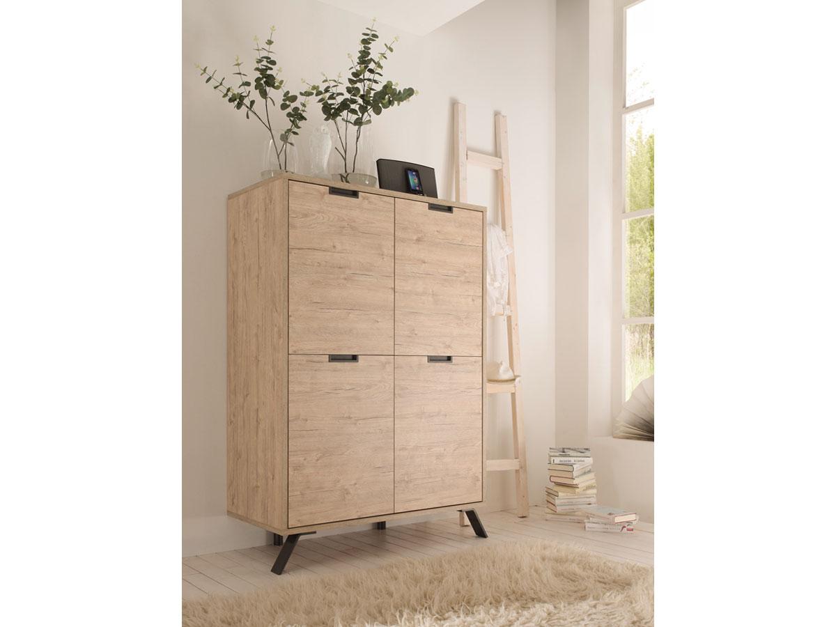 penthouse highboard kommode schrank wohnzimmerschrank dekor eiche griffmulden ebay. Black Bedroom Furniture Sets. Home Design Ideas