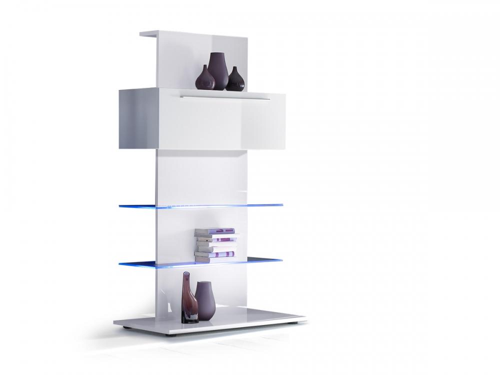 portia funktionsturm regal stauraumelement mit klappe wei weiss echt hochglanz ebay. Black Bedroom Furniture Sets. Home Design Ideas