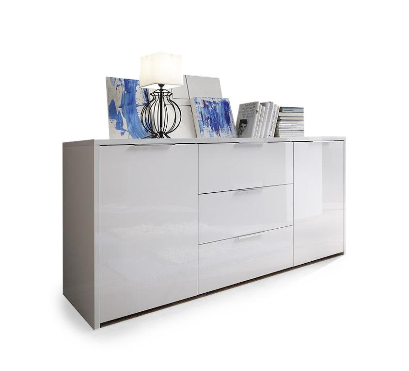 seta sideboard kommode schrank wohnzimmerschrank dekor wei weiss hochglanz ebay. Black Bedroom Furniture Sets. Home Design Ideas