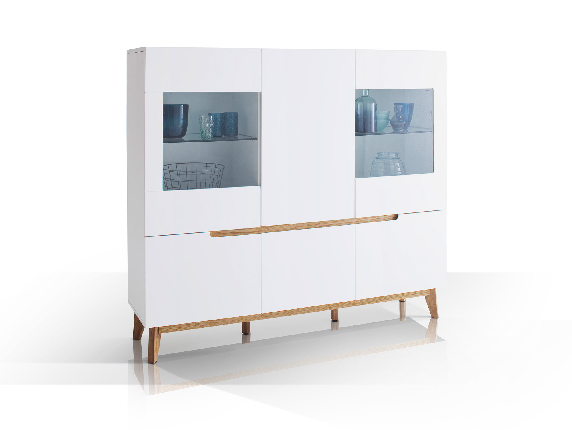 cava highboard schrank 70er jahre stil kommode sideboard wei weiss eiche b155 ebay. Black Bedroom Furniture Sets. Home Design Ideas