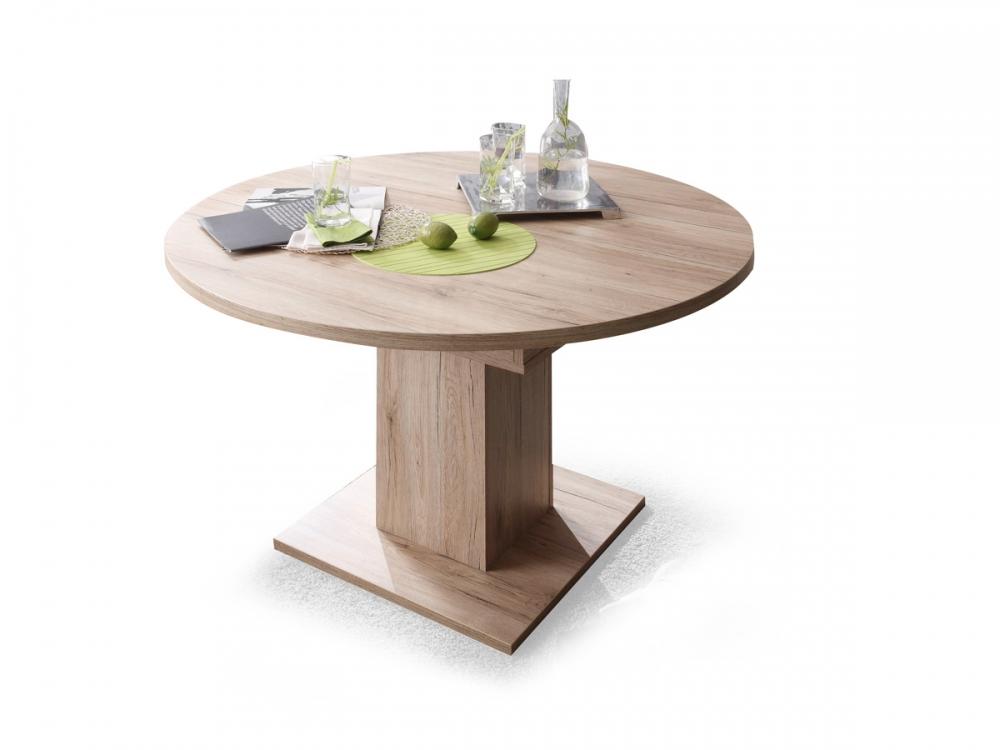 bochum tisch runder esstisch ausziehbar 120 cm bis 160 cm eiche san remo dekor ebay. Black Bedroom Furniture Sets. Home Design Ideas