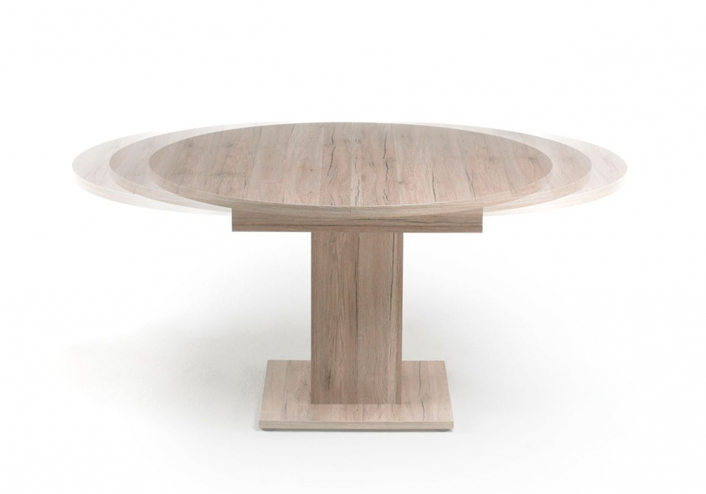 runder Esstisch aus hellem Holz mit grauen Stühlen