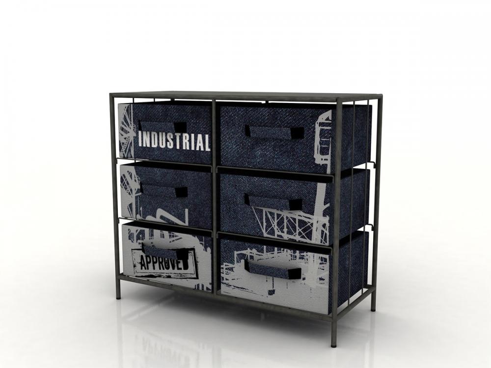 factory regal 6 boxen griff stauraumelement aufbewahrung raumteiler grau blau ebay. Black Bedroom Furniture Sets. Home Design Ideas