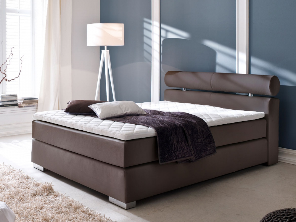 adam boxspringbett hotelbett bett 120x200 h2 kunstleder braun brown inkl topper ebay. Black Bedroom Furniture Sets. Home Design Ideas
