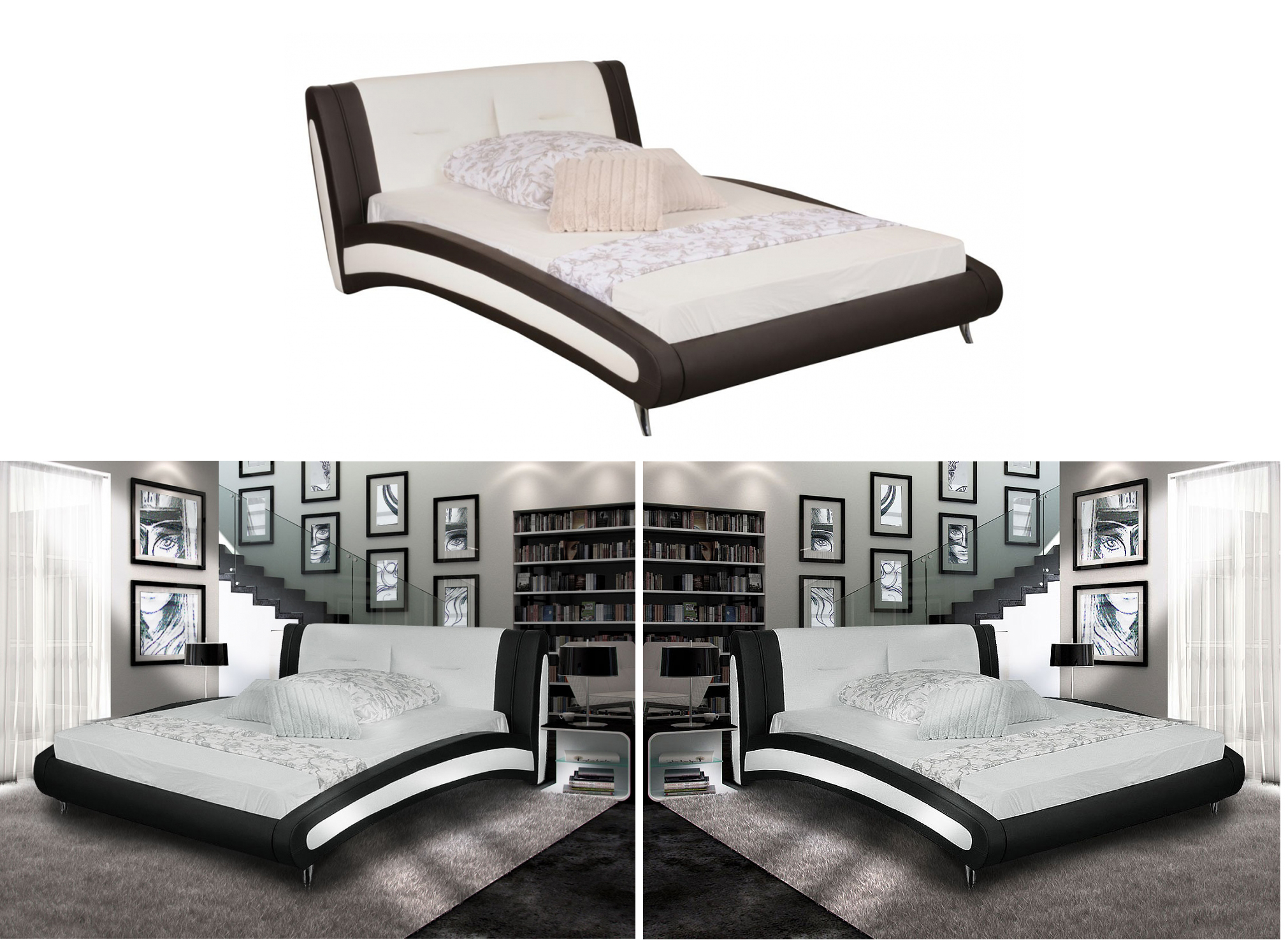 belinda bett doppelbett kunstleder polsterbett 200x200. Black Bedroom Furniture Sets. Home Design Ideas