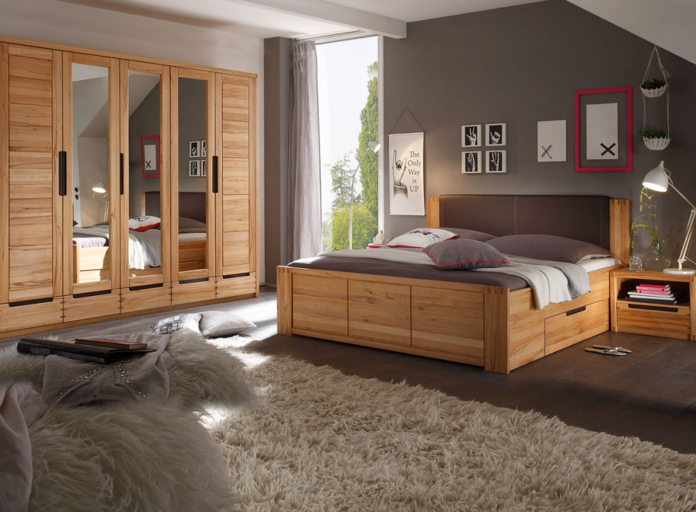 charles komplettschlafzimmer schlafzimmer bett schrank nachtkommode kernbuche. Black Bedroom Furniture Sets. Home Design Ideas