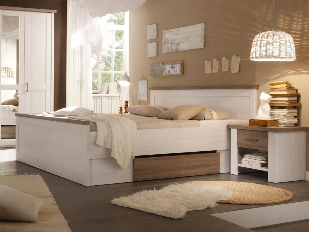 lucy bett futonbett inkl 2 nachtkommoden schlafzimmer dekor pinie wei 180x200 ebay. Black Bedroom Furniture Sets. Home Design Ideas