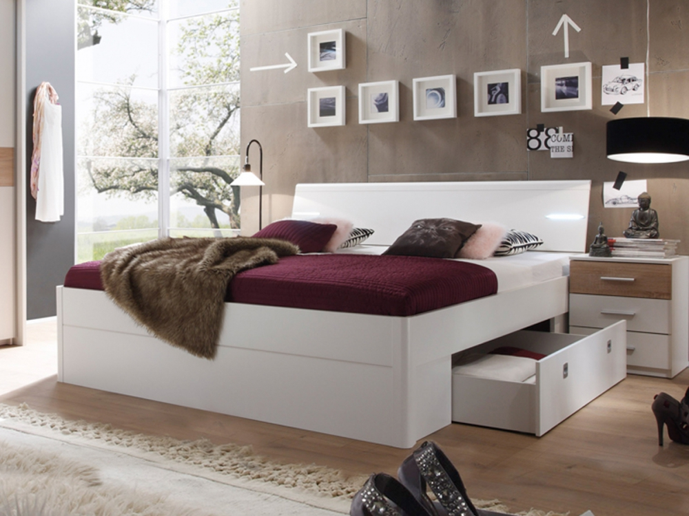 milena futonbett inkl 2 nachtkommoden bett doppelbett 180x200 dekor eiche wei ebay. Black Bedroom Furniture Sets. Home Design Ideas