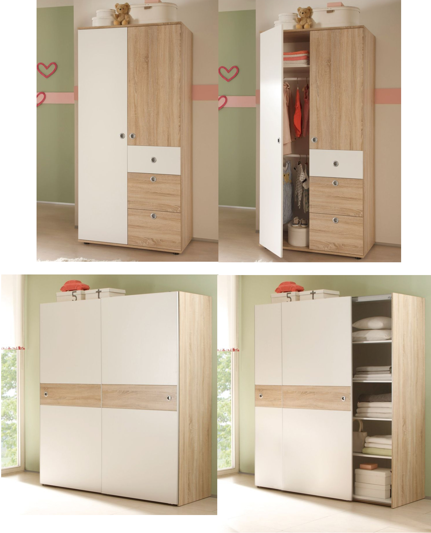 kleiderschrank tina eiche sonoma wei kinderzimmer jugendzimmer babyzimmer. Black Bedroom Furniture Sets. Home Design Ideas