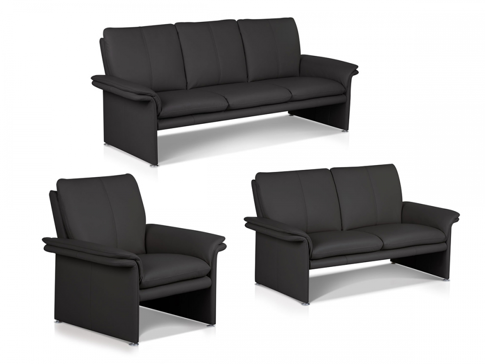cameo 3 teilige sofa polstergarnitur sessel 2 sitzer 3 sitzer echtleder schwarz ebay. Black Bedroom Furniture Sets. Home Design Ideas