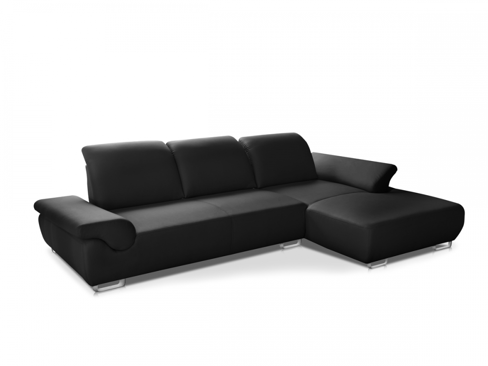 dallas ecksofa eckcouch sofa couch ledersofa ottomane rechts echtleder schwarz ebay. Black Bedroom Furniture Sets. Home Design Ideas