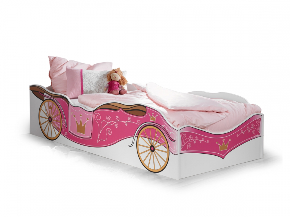 kitty m dchen einzelbett jugendbett kinderbett bett wei rosa prinzessin 90x200 ebay. Black Bedroom Furniture Sets. Home Design Ideas