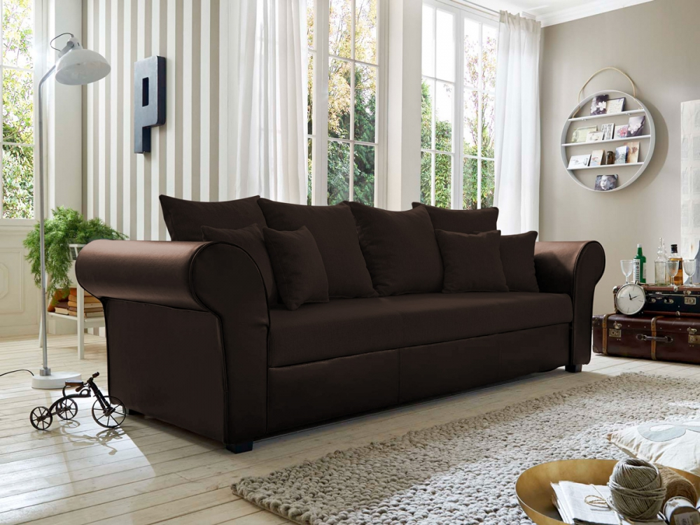 lessy lounge big sofa inkl kissen gro e couch microfaser braun breite 257 cm ebay. Black Bedroom Furniture Sets. Home Design Ideas