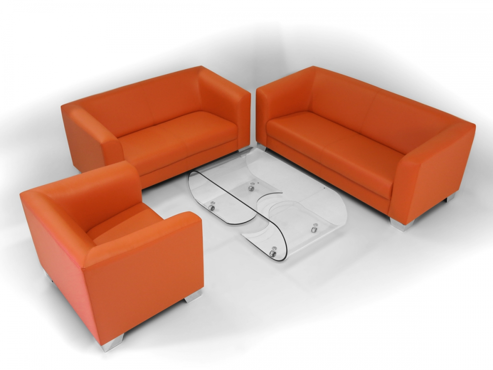 chicago 3 2 1 sofagarnitur sofa couch sessel 2 sitzer 3 sitzer orange kunstleder ebay. Black Bedroom Furniture Sets. Home Design Ideas