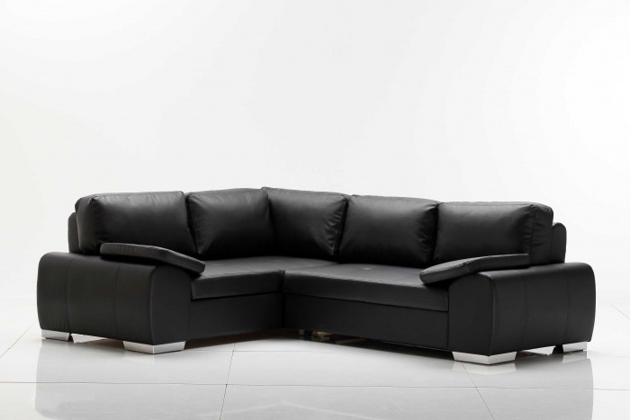eila ecksofa eckcouch sofa couch ottomane links kunstleder schwarz black 252x200 ebay. Black Bedroom Furniture Sets. Home Design Ideas